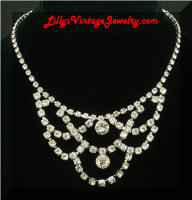 Draping Rhinestones Bib Vintage Necklace