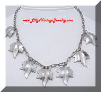 A Fun Silver tone Leaf Charm Necklace