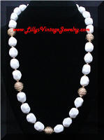 Fun Vintage White Gold Beads Necklace
