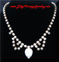 Milk Glass Rhinestones Fringe Necklace