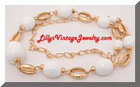 Golden White Beads Chunky Necklace