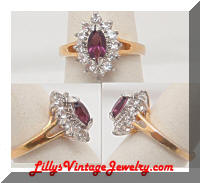 Vintage 10K GERG Purple Clear Rhinestones Cocktail Ring