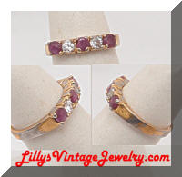 Purple Clear Rhinestones 12K HGE Band Ring