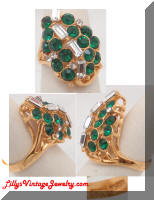14KF green Rhinestones Leaf Cocktail Ring