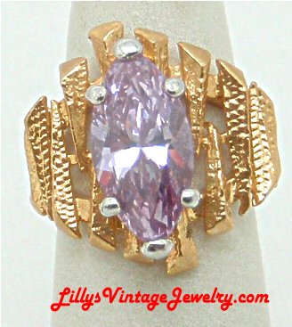 Vintage UNCAS Marcasites 14KT HGE Rose Cocktail Ring :  cocktail rings marked rhinestones