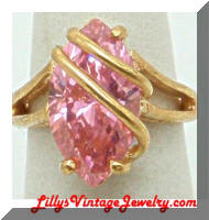 Contemporary Caged Pink CZ 18 KGE Cocktail Ring