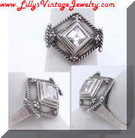 MB 925 Sterling Vintage Square Rhinestone Cocktail Ring