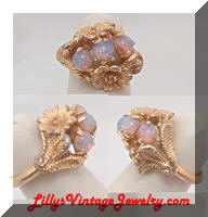 Vintage AVON Golden Flowers Opals Cocktail Ring