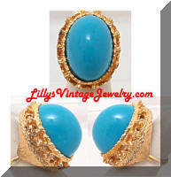 Huge Vintage Turquoise Cab Golden Cocktail Ring