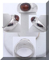 Uni-sex Liz Claiborne Tiger Eye Silver tone Ring