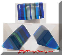 Groovy 1960s Blue Lucite Ring