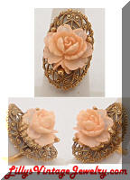 Large Golden Filigree Coral Rose Vintage Cocktail Ring
