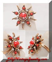 Vintage Sarah COVENTRY Antique Star Coral Pearls Ring