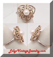 Vintage Golden STERLING Pearl Filigree Ring