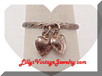 Vintage 925 Sterling Hearts Charms Ring