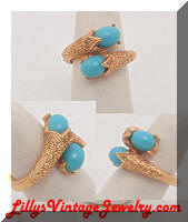 Vintage TRIFARI Turquoise Cabs Golden Dinner Ring
