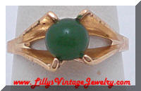 Vintage VARGAS Green Glass Jade Dinner Ring