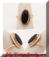 Golden Framed Black Glass Dinner Ring
