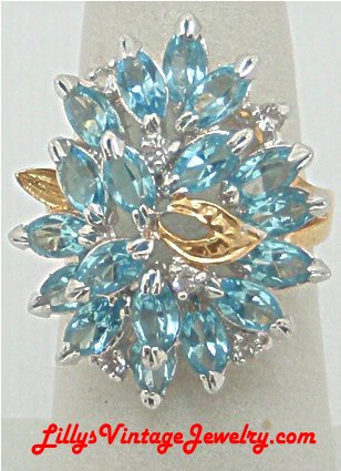 Wowser Blue Rhinestones Large Cocktail Contemporary Ring from lillysvintagejewelry.com