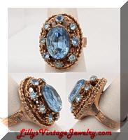Chunky Blue Rhinestones Golden Vintage Cocktail Ring