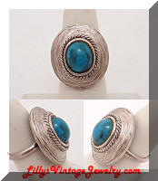 Vintage South Western Silver Turquoise Ring