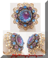 Vintage Bi-color purple blue cocktail ring