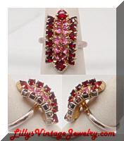 Red Pink Rhinestones Vintage Cocktail Ring