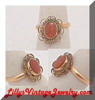 Vintage Golden Filigree Goldstone Ring