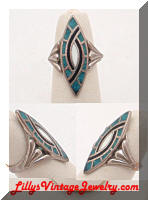 Southwestern Turquoise Inlay Vintage Ring