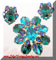 Vintage Domed AUSTRIA Green Blue Rhinestones Brooch Earrings Set