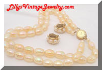 Vintage AUSTRIA Iridescent Yellow Beads Necklace Earrings Set