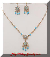 Contemporary AVON Floral Dangles Necklace Earrings Set