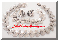 Vintage BERGERE Silver tone Necklace Bracelet Earrings Set