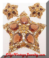 Vintage CORO Topaz Rhinestones Stars Brooch Earrings Set