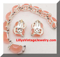 Vintage KRAMER Pink Moonglow Rhinestones Bracelet Earrings Set