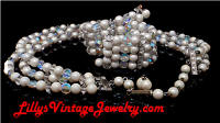 Vintage LAGUNA faux Pearls Crystals Necklace Wrap Bracelet Set