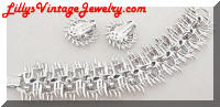 vintage Lisner textured silvertone bracelet earrings set
