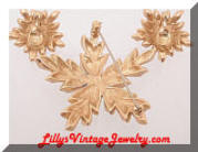 Vintage MONET Golden Branch Stars Brooch Earrings Set
