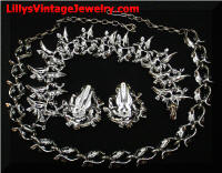 Vintage Park Lane White Leaves Black Diamond Rhinestones Parure