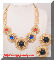 Dramatic PARKLANE Cabochons Rhinestones Necklace Earrings Set