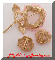 JJ Pink Roses Brooch and Earrings set