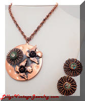 REBAJES Copper Sun & Birds Pendant Necklace & Earrings Set