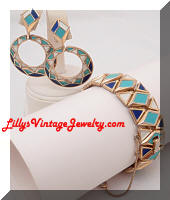 Vintage TRIFARI 1960's Enamel Bracelet Earrings Set