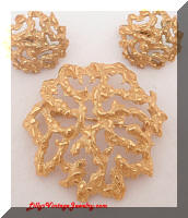 Vintage Trifari golden coral brooch and earrings set
