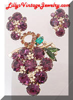 Vintage WEISS Purple Rhinestones Grapes Brooch Earrings Set