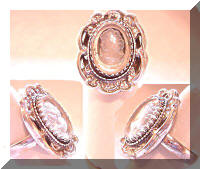 Whiting & Davis Silver Cameo Cocktail Ring