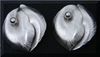 Whiting & Davis Brushed Silver tone Leaf Earrings