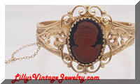 Whiting & Davis Golden Cameo Bracelet