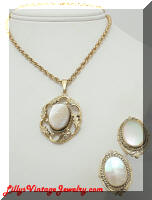 Whiting & Davis abalone shell golden pendant earrings set