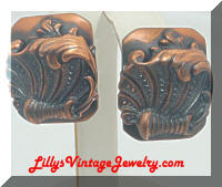 Whiting & Davis Repousse Copper Earrings